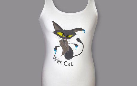 Tílko Crazy Cats - Wet Cat - bílé - 100% bavlna