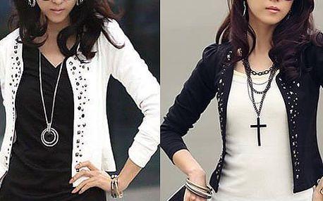 Dámský krátký kabátek - v černé a bílé barvě a poštovné ZDARMA! - 35806075