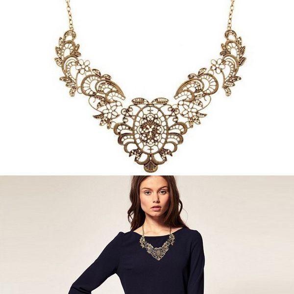 Vintage náhrdelník zdobený květinovým ornamentem a poštovné ZDARMA! - 35706036