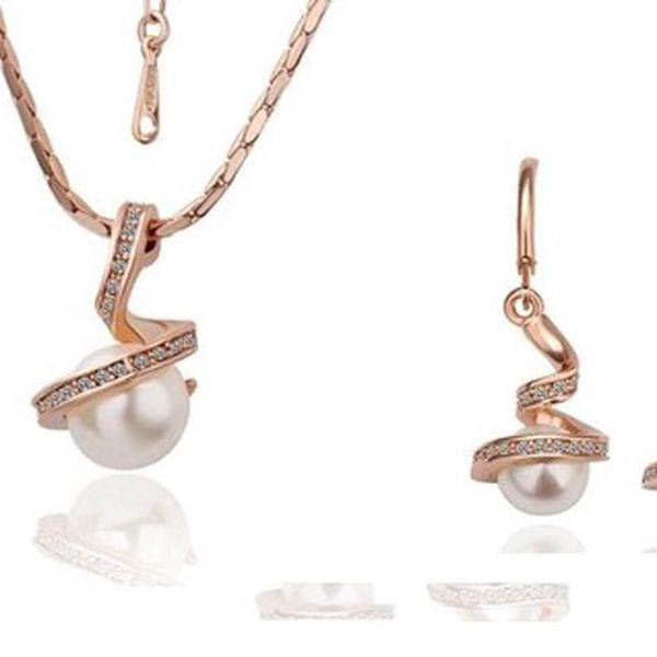 Luxusní sada náhrdelníku s náušnicemi s perlou a kamínky ve stříbrno-zlatém provedení s řetízkem o délce 45 - 50,8 cm!