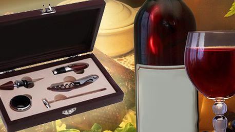 Elegantní sada na víno je dárek vhodný pro všechny milovníky dobrého vína. Exklusivní sada v dárkové dřevěné krabici s přeskou obsahuje 5 profi nástrojů pro otevření a dekantaci!!