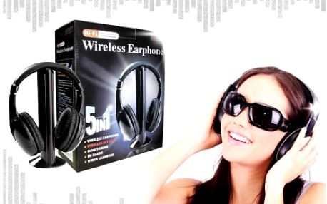 Multifunkční bezdrátová Hi-Fi sluchátka 5v1, které lze využít k monitoringu dětí jako chůvička. Věstavěné FM rádio a další mnoho užitečných funkcí.