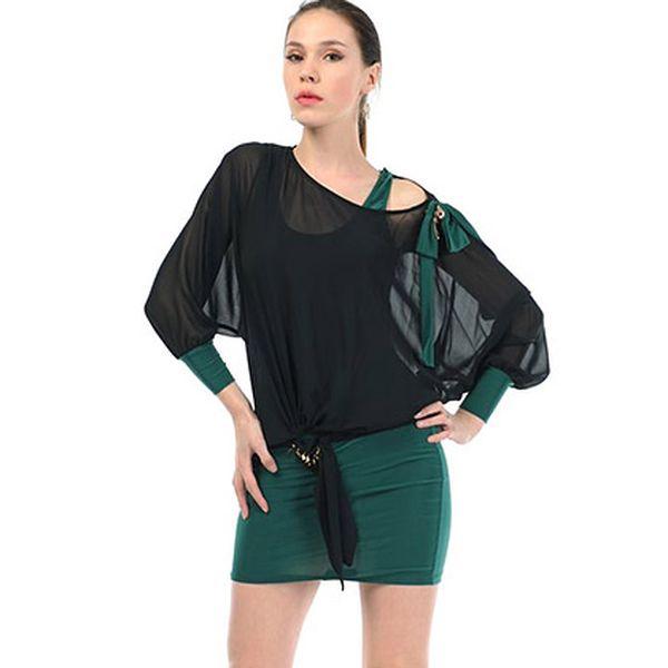 Zeleno-černé šaty Viabellucci