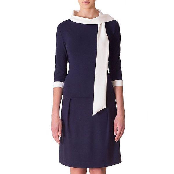 Dámské tmavě modré šaty s bílou stuhou Yuliya Babich