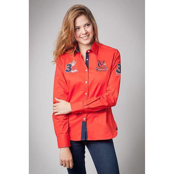 Dámská červená košile s nášivkami Valecuatro