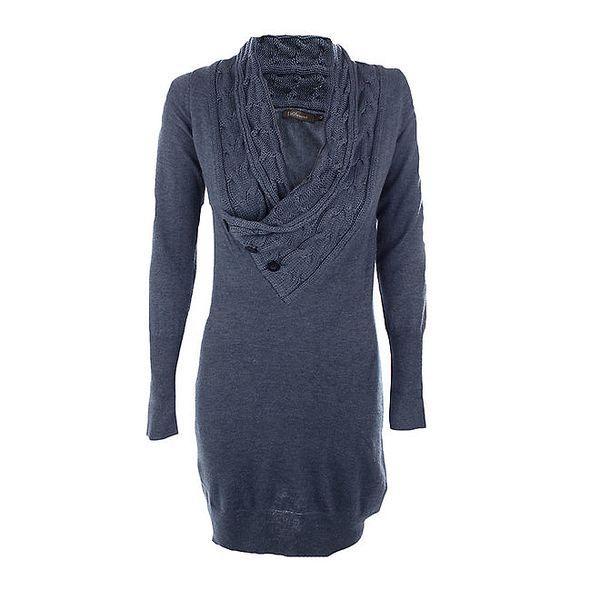 Dámské denimově modré úpletové šaty Emoi
