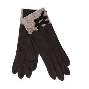 Černé rukavice s mašličkami