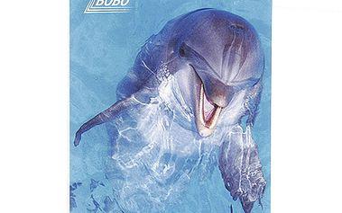 Poznámkový blok Bobo Bloky s motivy zvířat - kroužkový, prázdný, delfín