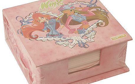 Nádherný poznámkový bloček se zrcátkem a motivem dvou víl z kolekce Winx Club, barva růžová.