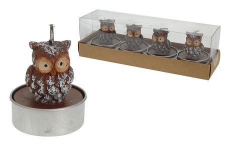 Čajové svíčky ozdobné sova, sada 4 ks