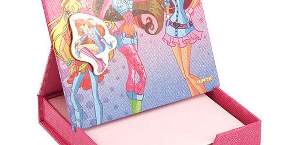 Poznámkový bloček Winx Club Poznámkový bloček s magnetkem Bloom&Stella&Flora