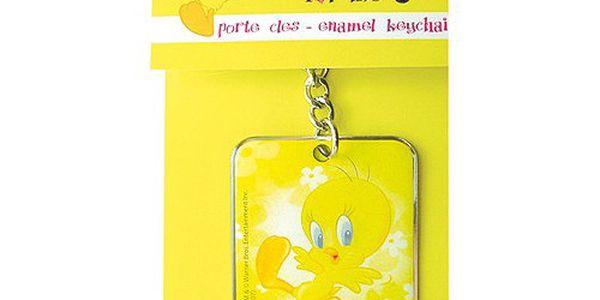 Krásná kovová klíčenka s motivem ptáčka Tweetyho, barva žlutá