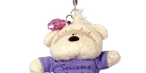 Plyšová klíčenka ve tvaru medvídka Fizzy Moon s fialovým tričkem, Someone Special.