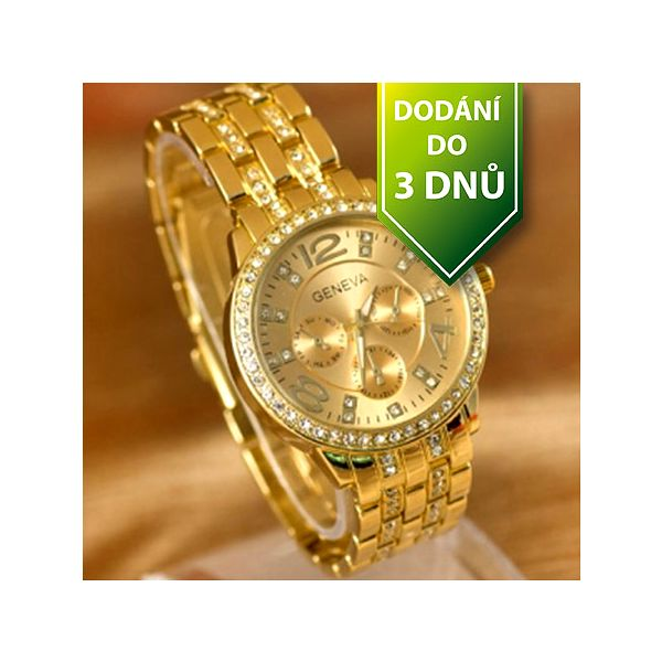 Luxusní hodinky GENEVA s čirými kamínky - zlaté a poštovné ZDARMA s dodáním do 3 dnů! - 35106123
