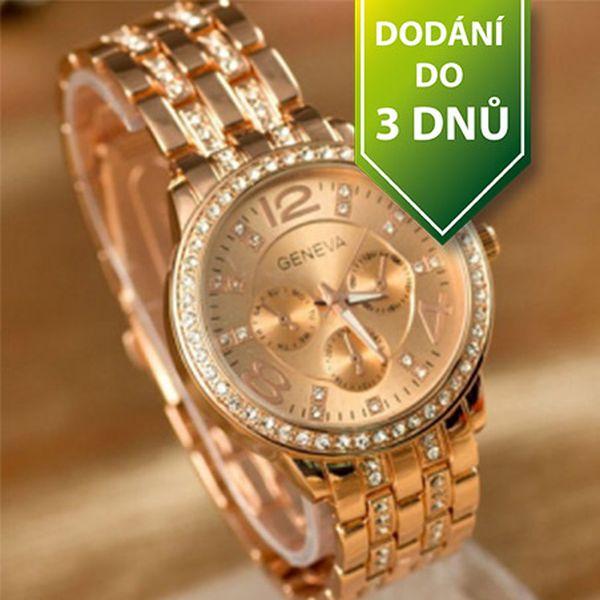 Luxusní hodinky GENEVA s čirými kamínky - bronzové a poštovné ZDARMA s dodáním do 3 dnů! - 36006124