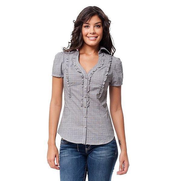 Dámská černobílá kostkovaná košile Guess s volánky