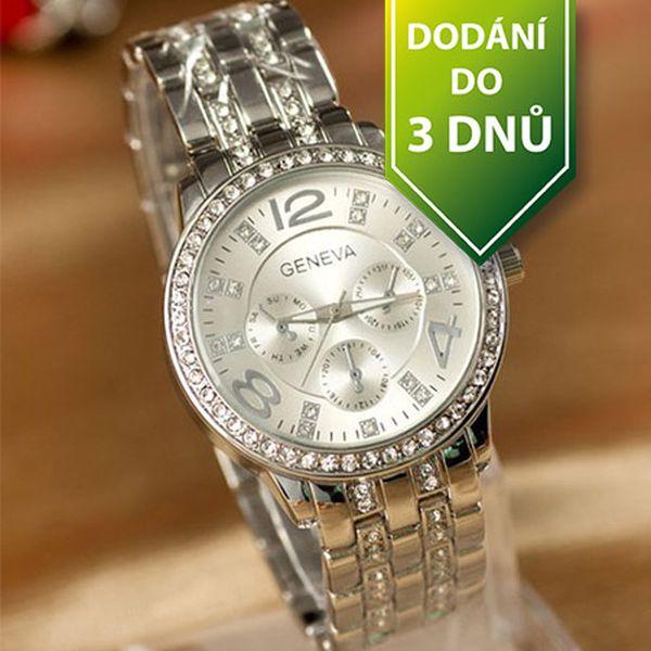 Luxusní hodinky GENEVA s čirými kamínky - stříbrné a poštovné ZDARMA s dodáním do 3 dnů! - 34106122