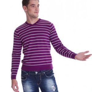 Originální a stylový pánský svetr Tommy Hilfiger fialový