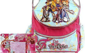 Školní batoh Cool set motiv Winx: ořezávátko, pero, poznámkový bloček