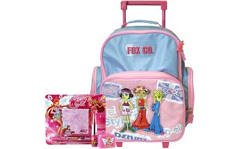 Školní batoh Cool trolley set motiv Winx: ořezávátko, pero, poznámkový bloček