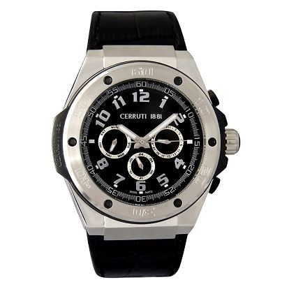 Pánské černo-stříbrné hodinky Cerruti 1881 s analogovým ciferníkem