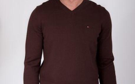 Nepostradatelný módní pánský hnědý svetr Tommy Hilfiger