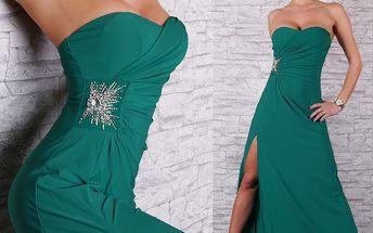Dlouhé tyrkysové zelené šaty plesové Queen O.F.