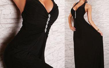 Krásné dlouhé plesové šaty černé se štrasem Queen O.F.