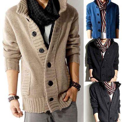 Teplý pánský svetr na zapínání a poštovné ZDARMA! - 33906155