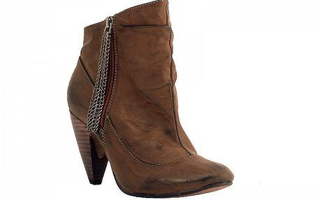 Dámské hnědé kotníčkové boty Red Hot s řetízky