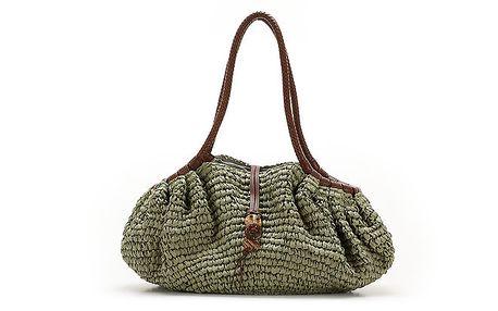 Dámská zelené kabelka s hnědými uchy Abbacino