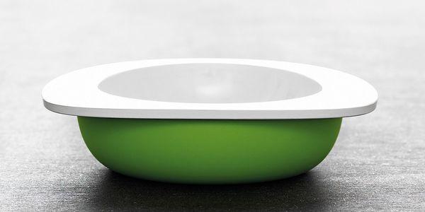 Dětská miska, zelená pro snazší nabírání kaše