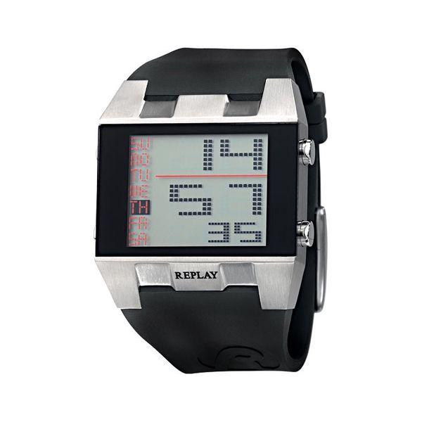 Pánské hodinky Replay černo-stříbrné digitální