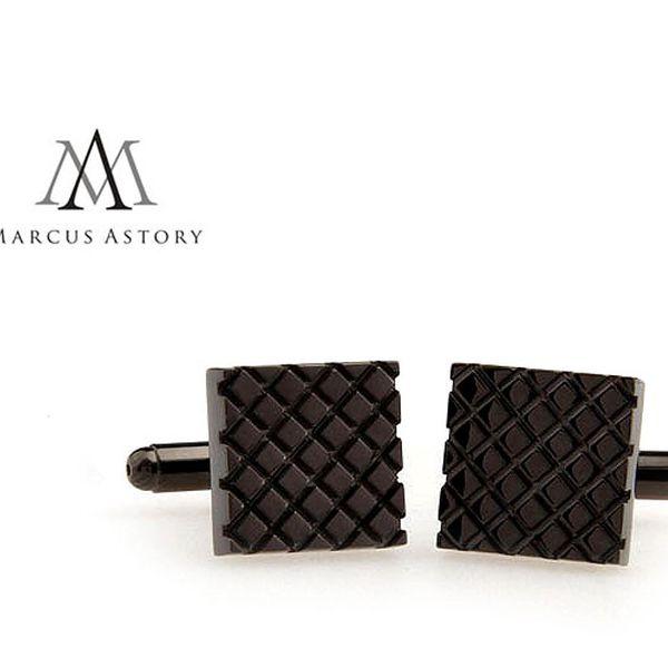 Luxusní manžetové knoflíčky Marcus Astory čtverec antracit