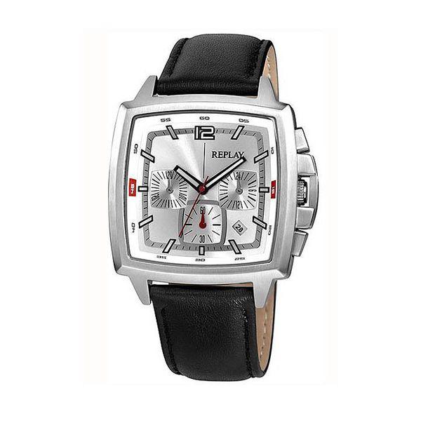 Pánské hodinky Replay černo-stříbrné hranatý ciferník