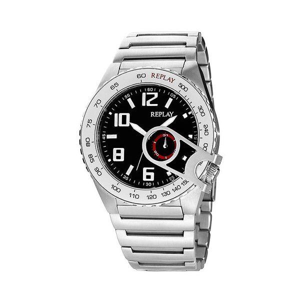 Pánské hodinky Replay stříbrné černý kulatý ciferník
