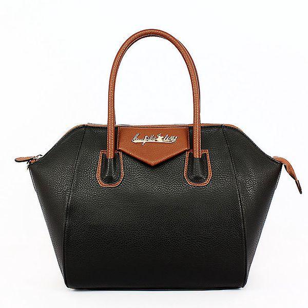 Dámská černá kabelka s karamelovými uchy Beverly Hills Polo Club