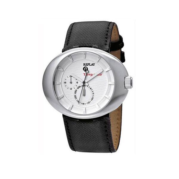 Pánské hodinky Replay černo-stříbrné kožený pásek