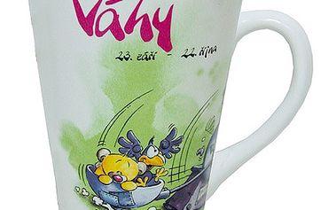 Znamení Váhy - originální horoskopový hrneček s motivem zvířátek z kolekce Diddl a jeho přátelé, barva zelená.