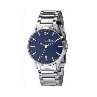 Dámské hodinky Replay stříbrné tmavě modrý ciferník