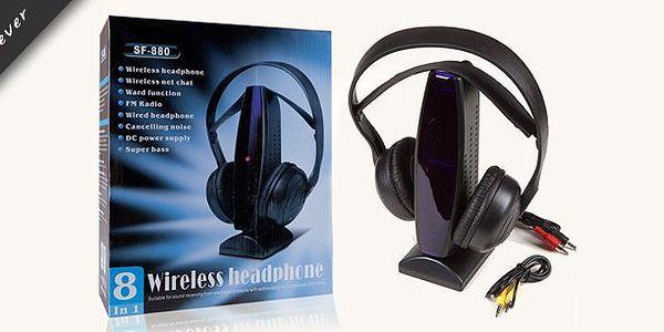 Multifunkční bezdrátová Hi-Fi sluchátka se zvýrazněnými basy 8v1