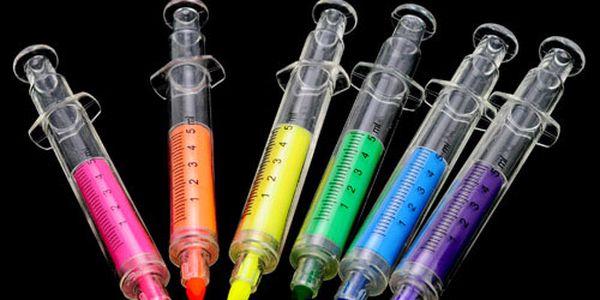 Balení 6 ks zvýrazňovačů ve tvaru injekční stříkačky a poštovné ZDARMA! - 33905174