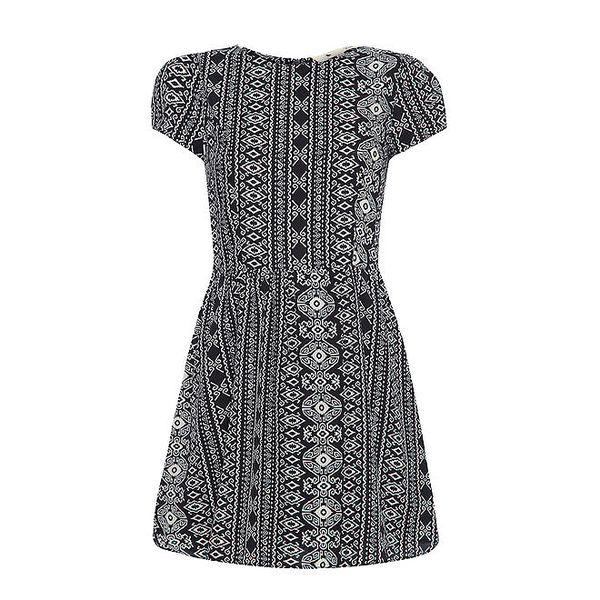 Dámské černobílé vzorované šaty s rukávky Yumi
