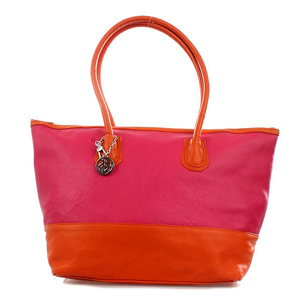 Dámská růžovo-oranžová kožená kabelka DKNY