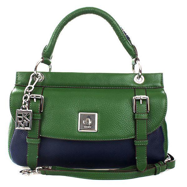 Dámská zeleno-modrá kožená kabelka se zámečkem Fossil
