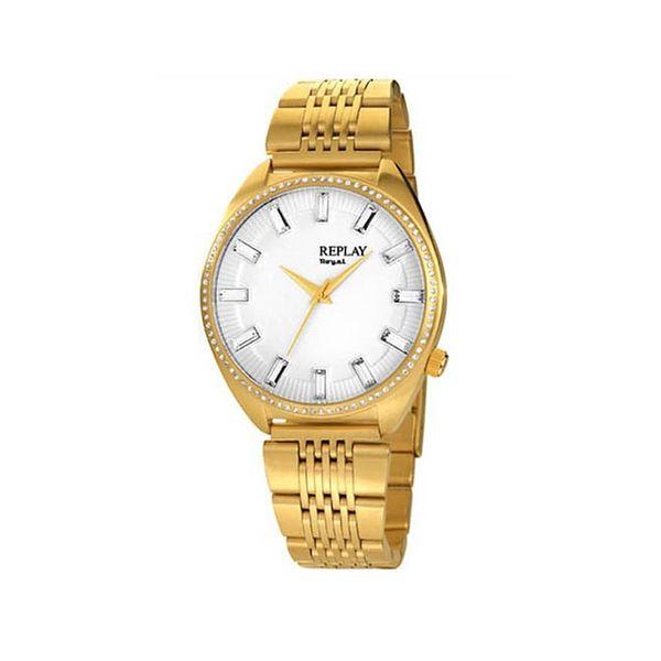 Dámské hodinky Replay zlaté bílý kulatý ciferník