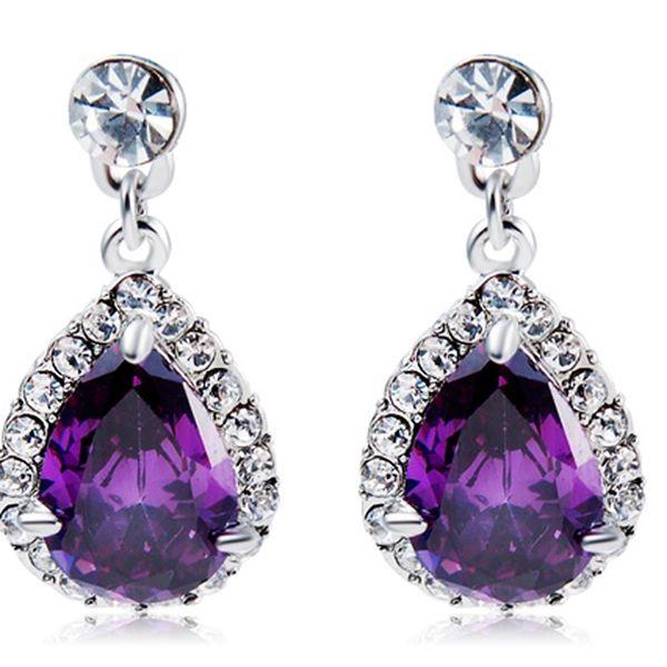 Náušnice s fialovým kamenem ve tvaru slzy a poštovné ZDARMA! - 34606247