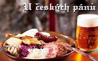 U ČESKÝCH PÁNŮ! Veškerá jídla dle vašeho výběru z celého jídelního lístku + sklenice chilského vína ZDARMA v restauraci na ulici Vodičkova u metra Můstek! Pravý staročeský kulinářský zážitek...