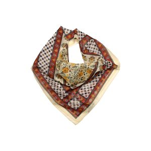 Dámský hořčicově-oranžový šátek Aquascutum s květinovým vzorkem