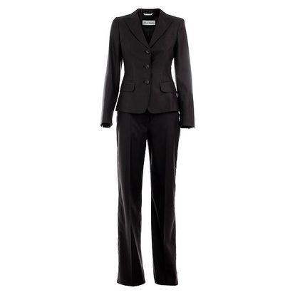 Dámský antracitový kalhotový kostým Max Mara